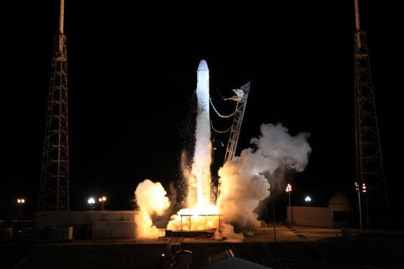 SpaceX's robotic Dragon capsule lifts off the pad atop the company's Falcon 9 rocket on Oct. 7, 2012, kicking off the first-ever bona fide supply run for a private American spaceship.