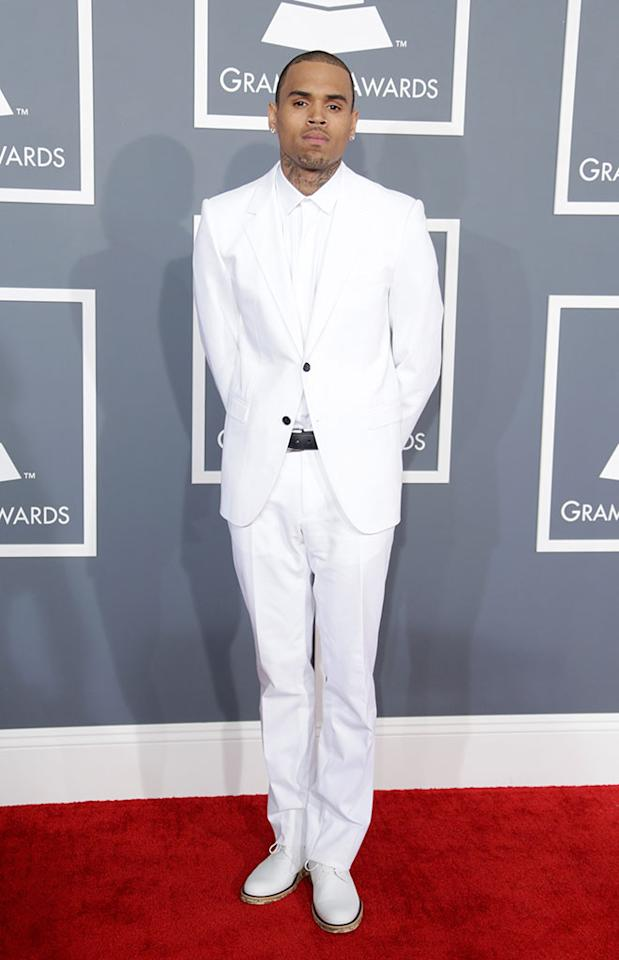 Chris Brown arrives at the 55th Annual Grammy Awards at the Staples Center in Los Angeles, CA on February 10, 2013.