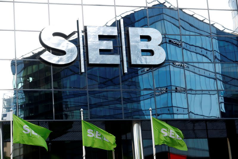 SEB bank sign is seen on the bank's building in Tallinn