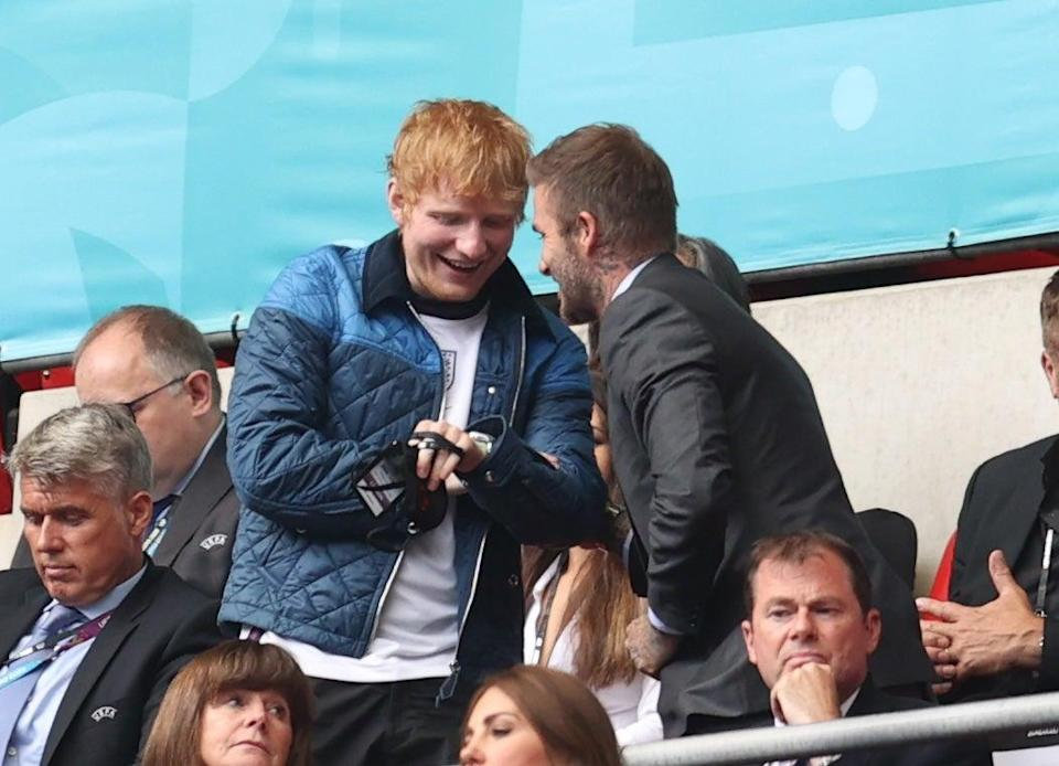Ed Sheeran and David Beckham were leading the stars among the supporters (Pool via REUTERS)