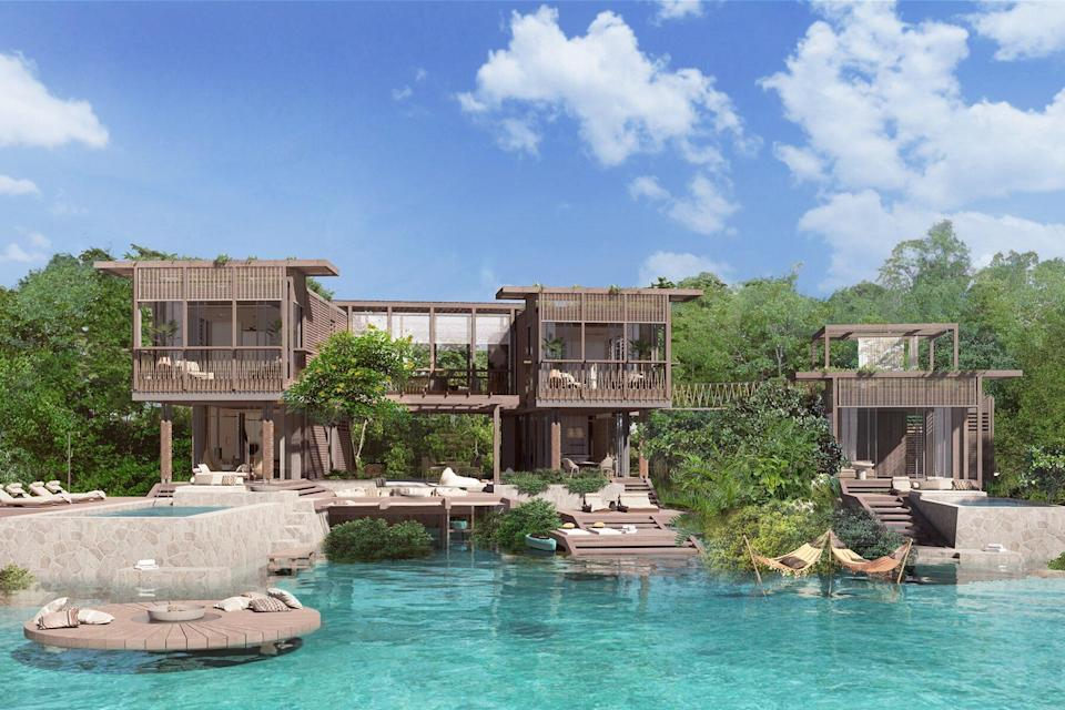The residences are raised on stilts in a typical Belizean style, with open and spacious interiors that seamlessly blend the indoor with the tropical outdoor.