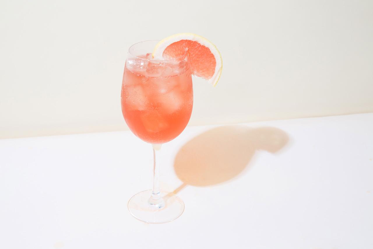 """This is a pinky and bubbly rosé wine spritz with Aperol and passion fruit juice. <a href=""""https://www.bonappetit.com/recipe/rose-aperol-spritz?mbid=synd_yahoo_rss"""">See recipe.</a>"""