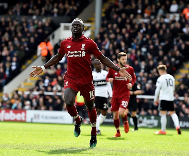 "Sadio Mane, who scored twice in <a class=""link rapid-noclick-resp"" href=""/soccer/teams/liverpool/"" data-ylk=""slk:Liverpool"">Liverpool</a>'s midweek win at Bayern Munich, celebrates his goal in Sunday's crucial victory against <a class=""link rapid-noclick-resp"" href=""/soccer/teams/fulham/"" data-ylk=""slk:Fulham"">Fulham</a> that put the Reds back atop the Premier League. (Andrew Powell/Getty)"