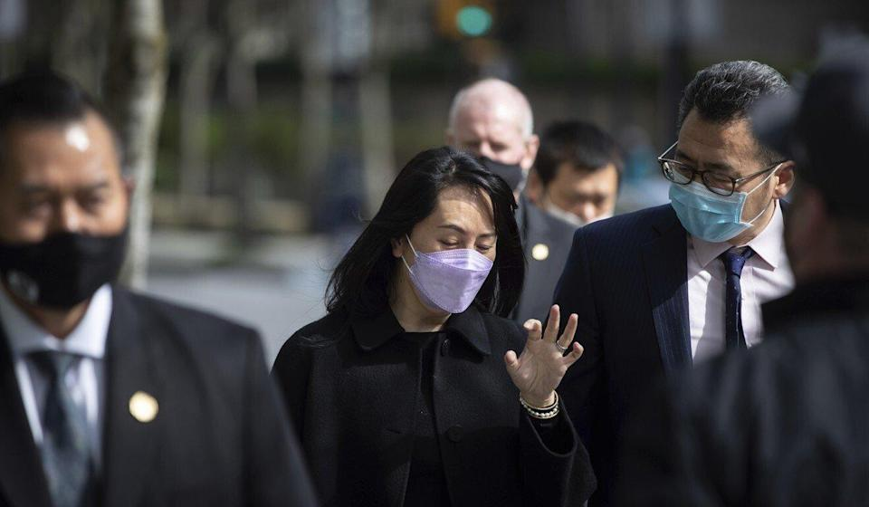 Meng Wanzhou, the chief financial officer of Huawei Technologies, leaves the Supreme Court of British Columbia during a break from her extradition proceedings in Vancouver on Tuesday. Photo: The Canadian Press via AP