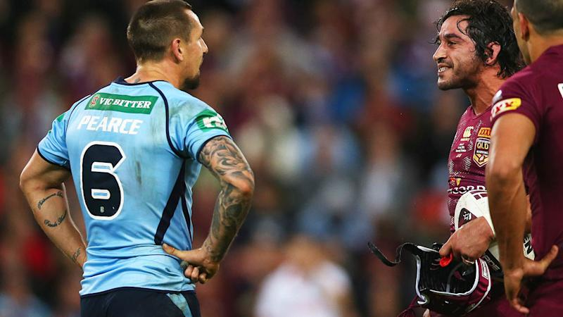Johnathan Thurston sledged Mitchell Pearce in 2015. (Photo by Mark Kolbe/Getty Images)