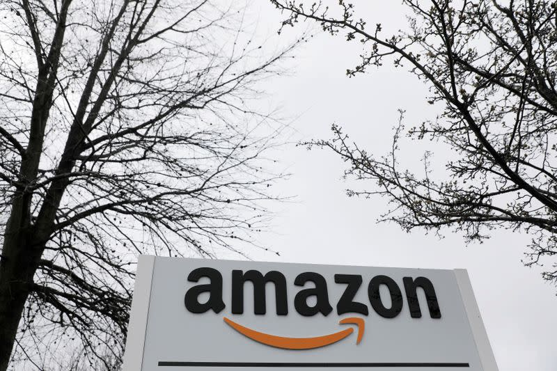 Signage is seen at an Amazon facility in Bethpage on Long Island in New York