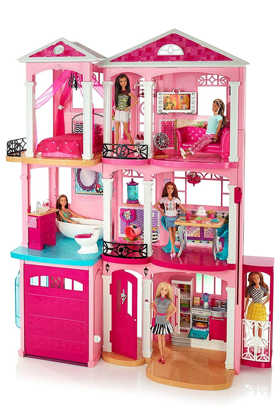 "<p><strong>Barbie</strong></p><p>amazon.com</p><p><strong>$189.86</strong></p><p><a href=""http://www.amazon.com/dp/B00T03U6AC/?tag=syn-yahoo-20&ascsubtag=%5Bartid%7C10067.g.12475659%5Bsrc%7Cyahoo-us"" rel=""nofollow noopener"" target=""_blank"" data-ylk=""slk:Shop Now"" class=""link rapid-noclick-resp"">Shop Now</a></p><p>Barbie's dream house is quite literally a dream come true for most kids.</p>"