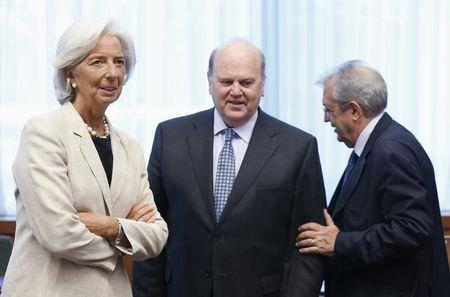 IMF Managing Director Lagarde, Ireland's Finance Minister Noonan and Italy's Economy Minister Saccomanni attend an euro zone finance ministers meeting in Brussels