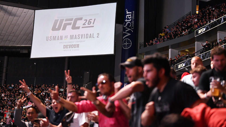 15,000 fans, pictured here at VyStar Veterans Memorial Arena for UFC 261.