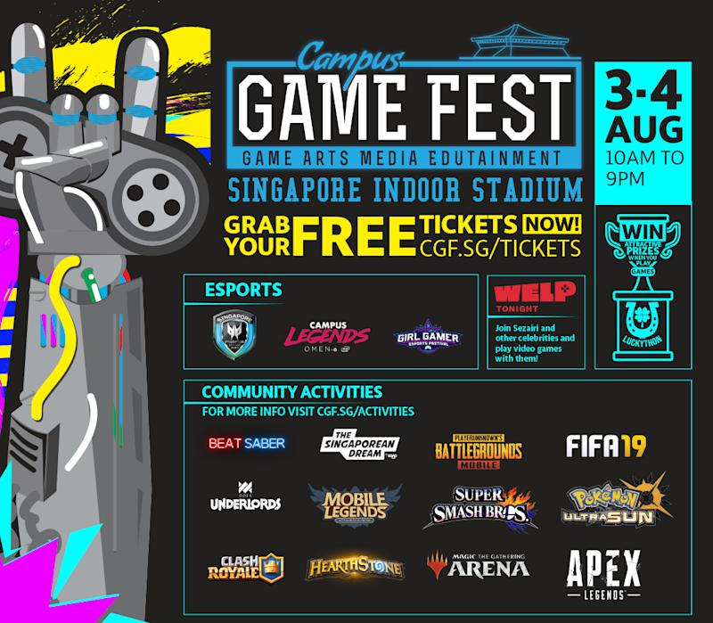 Some of the programmes at Campus Game Fest 2019.