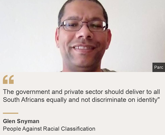 """The government and private sector should deliver to all South Africans equally and not discriminate on identity"""", Source: Glen Snyman, Source description: People Against Racial Classification, Image: Glen Snyman"