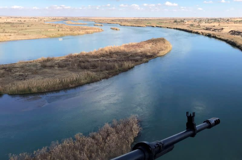 A view shows the Euphrates River at the Iraqi-Syrian border town of Al-Qaim