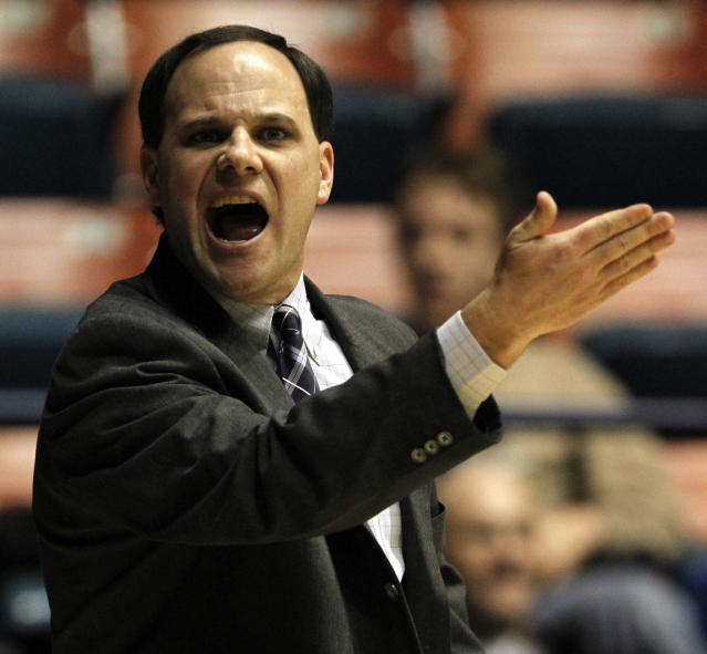 Richmond head women's basketball coach Michael Shafer yells at a referee during the first half of an NCAA college basketball game against Xavier in Richmond, Va., Wednesday, Feb. 9, 2011. (AP Photo/Steve Helber)