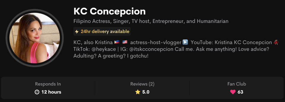Screen grab from KC Concepcion's Cameo Page