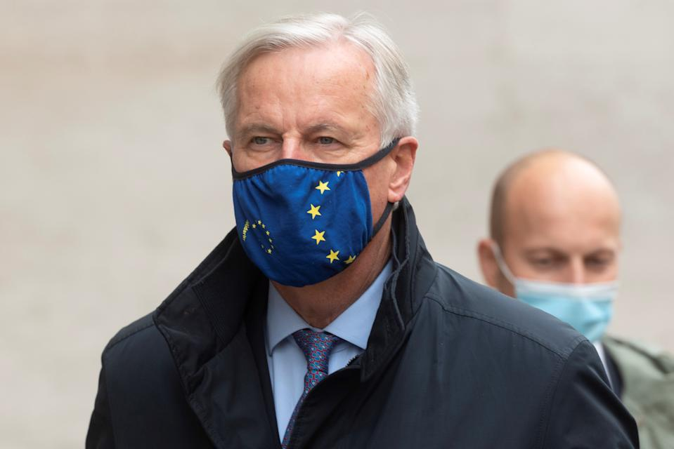 EU chief negotiator Michel Barnier arrives at Downing street in London, 23 October, 2020. Photo: Ray Tang/Xinhua via Getty