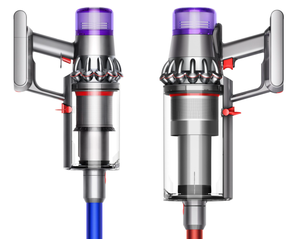 side by side photo of the bin on a Dyson V11 stick vacuum and the Dyson Outsize Total Clean and Dyson V11 Outsize Pro stick vacuum