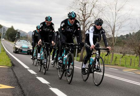 FILE PHOTO: Team Sky riders take part in a training session in Alcudia, on the island of Mallorca, Spain, January 10, 2017. REUTERS/Enrique Calvo