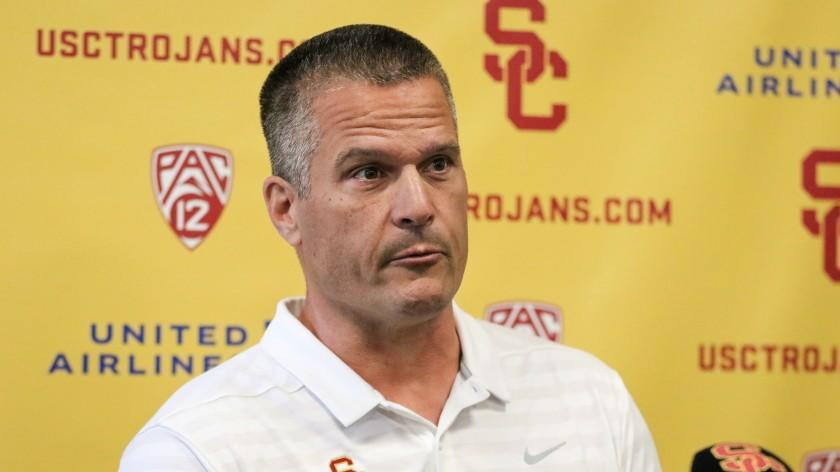 New USC defensive coordinator Todd Orlando speaks at a press conference at USC on March 3, 2020.