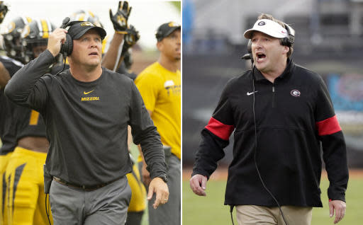 FILE - At left, in a Sept. 21, 2019, file photo, Missouri head coach Barry Odom watches a replay on the scoreboard during the first quarter of an NCAA college football game against South Carolina, in Columbia, Mo. At right, in a Nov. 2, 2019, file photo, Georgia head coach Kirby Smart directs his team against Florida during the second half of an NCAA college football game, in Jacksonville, Fla. When Southeastern Conference coaches gather and Georgias Kirby Smart wants to talk defense, he looks for Missouris Barry Odom. Both were defensive coordinators before being hired to take over programs at their alma maters. One more similarity: Smart and Odom bring the SECs top defenses into Saturday nights important Eastern Division game. (AP Photo/File)