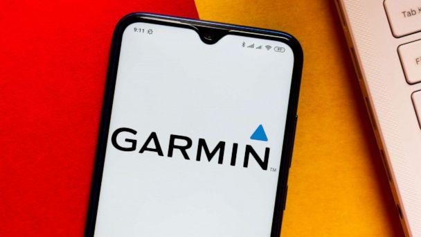 PHOTO: In this photo illustration the Garmin logo seen displayed on a smartphone. (Rafael Henrique/SOPA Images/LightRocket via Getty Images)