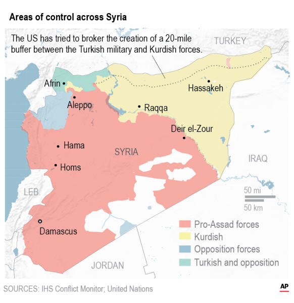 Map Syria shows the latest areas of control by Pro-Assad, Kurdish, Islamic State and Free Syrian Army forces.;