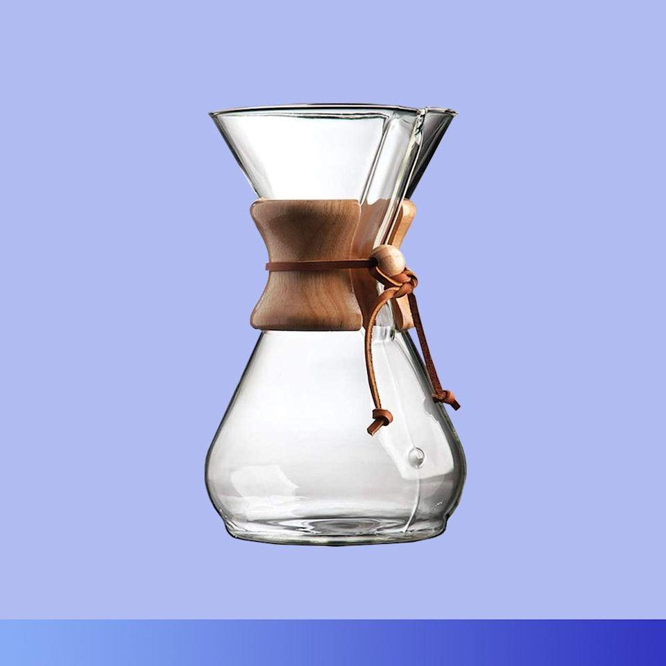 """<p><strong>Chemex</strong></p><p>williams-sonoma.com</p><p><strong>$35.50</strong></p><p><a href=""""https://go.redirectingat.com?id=74968X1596630&url=https%3A%2F%2Fwww.williams-sonoma.com%2Fproducts%2Fchemex-wood-collar-glass-coffeemaker%2F&sref=https%3A%2F%2Fwww.bestproducts.com%2Flifestyle%2Fg376%2Ftop-christmas-gift-ideas%2F"""" rel=""""nofollow noopener"""" target=""""_blank"""" data-ylk=""""slk:Shop Now"""" class=""""link rapid-noclick-resp"""">Shop Now</a></p><p>Shopping for a coffee-elitist who'd instantly roll their eyes at the thought of a pod-powered pour? This elegant glass option from Chemex will preserve the integrity of their favorite ground beans to brew the most flavorful batch possible. It's a timeless gadget that's <a href=""""https://www.bestproducts.com/eats/gadgets-cookware/a31996263/oxo-pour-over-coffee-maker-review/"""" rel=""""nofollow noopener"""" target=""""_blank"""" data-ylk=""""slk:totally worth the hype"""" class=""""link rapid-noclick-resp"""">totally worth the hype</a> and is hands-down one of the best Christmas gifts to get the coffee lover in your life.</p>"""