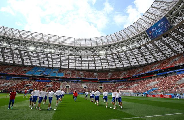 Host nation Russia train at the Luzhniki Stadium in Moscow ahead of the World Cup's opening fixture against Saudi Arabia. (Rex)