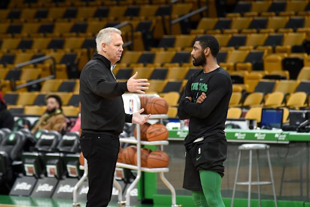 Celtics general manager Danny Ainge says point guard Kyrie Irving (Photo by Steve Babineau/NBAE via Getty Images)