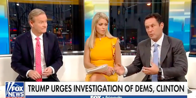 "On the day that President Donald Trump's former campaign chairman, Paul Manafort, was indicted, ""Fox & Friends"" dedicated substantial time to asking why Hillary Clinton wasn't being investigated instead. (YouTube)"