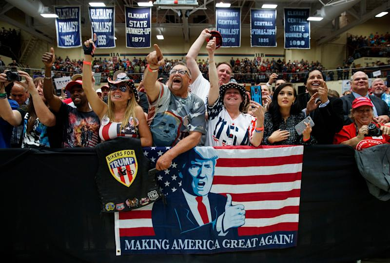 The crowd cheers as Vice President Mike Pence introduces President Trump in Elkhart, Ind., on May 10, 2018. (Photo: AP/Carolyn Kaster)