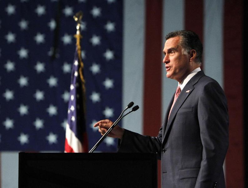 Republican presidential candidate, former Massachusetts Gov. Mitt Romney addresses the 113th National Convention of the Veterans of Foreign Wars, Tuesday, July 24,2012, in Reno, Nev. (AP Photo/Rich Pedroncelli)