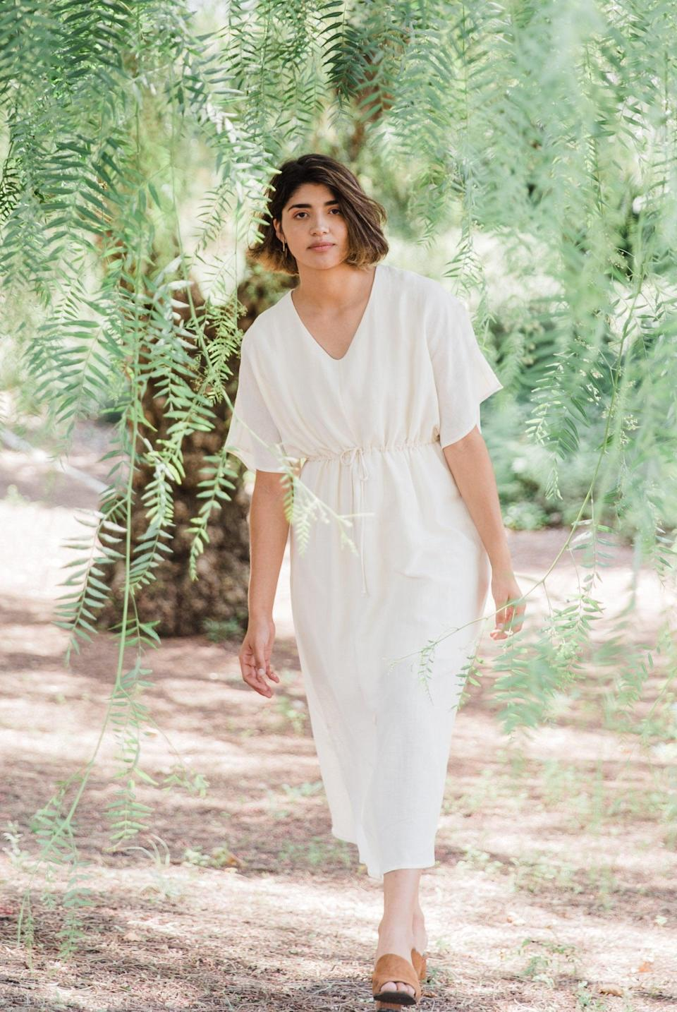 "<br> <br> <strong>Gracemade</strong> Beloved Sustainable Dress, $, available at <a href=""https://go.skimresources.com/?id=30283X879131&url=https%3A%2F%2Fwww.thegracemade.com%2Fcollections%2Fgracemade-collection%2Fproducts%2Fbeloved-dress%3Fvariant%3D20072681078880"" rel=""nofollow noopener"" target=""_blank"" data-ylk=""slk:Gracemade"" class=""link rapid-noclick-resp"">Gracemade</a>"