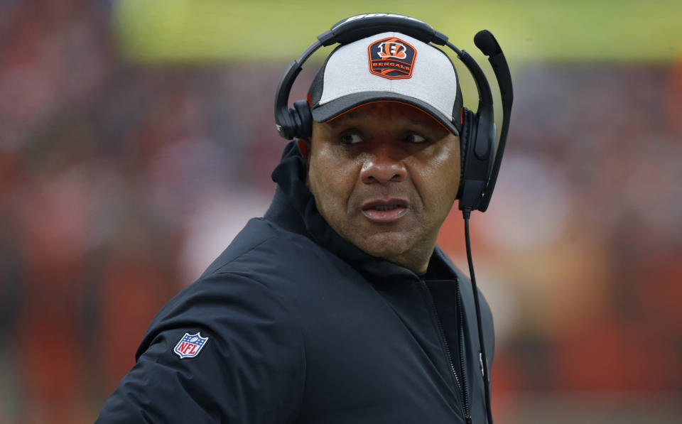 Cincinnati Bengals special assistant to the head coach Hue Jackson watches during the second half of an NFL football game against the Cleveland Browns, Sunday, Dec. 23, 2018, in Cleveland. (AP Photo/Ron Schwane)