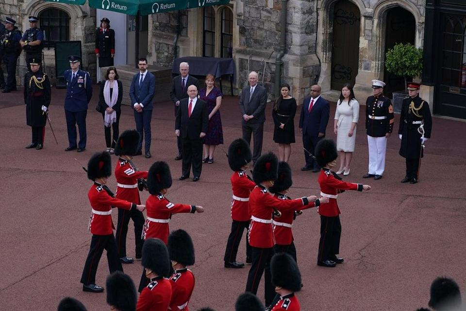 Delegates from the US embassy at the Guard Change at Windsor Castle (Steve Parsons/PA) (PA Wire)