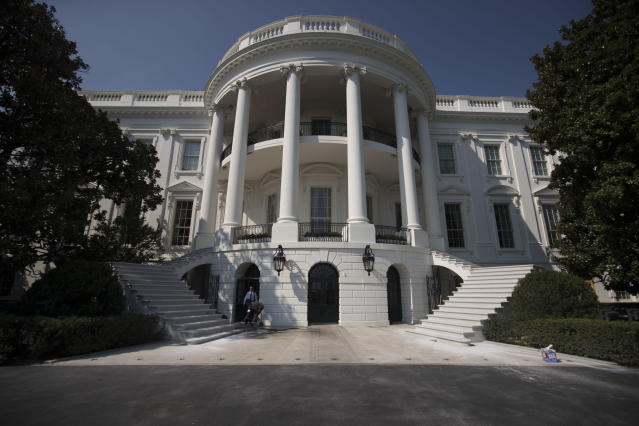 <p>The newly renovated staircases leading to the South Portico porch of the White House in Washington, Tuesday, Aug. 22, 2017, are seen during a media tour. (Photo: Carolyn Kaster/AP) </p>