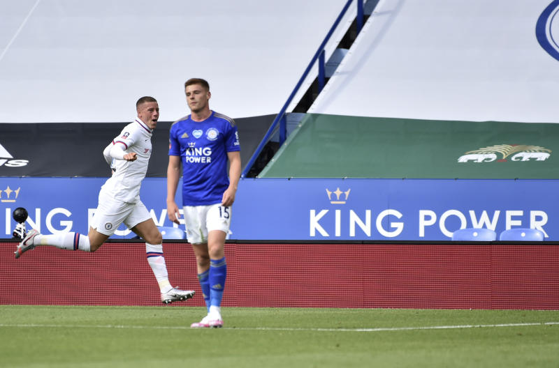 Chelsea's Ross Barkley, left, celebrates after scoring his side's opening goal during the FA Cup sixth round soccer match between Leicester City and Chelsea at the King Power Stadium in Leicester, England, Sunday, June 28, 2020. (AP Photo/Rui Vieira, Pool)
