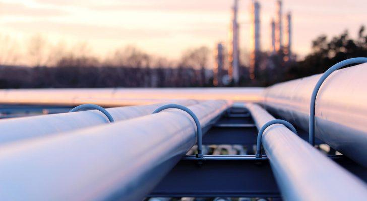 close up of oil pipelines at sunset