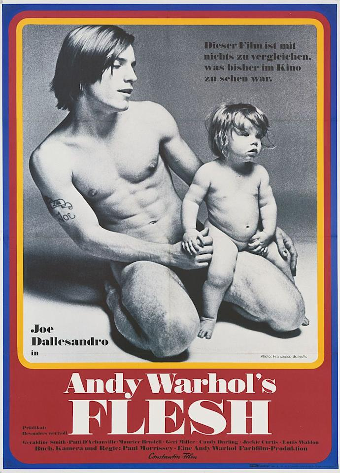 "<p>""Little Joe"" Dallesandro starred in Warhol-directed and/or produced films like <em>Lonesome Cowboys</em>, <em>The Loves of Ondine</em>, and <em>Trash</em>. Openly bisexual, he became a symbol of young male sexuality and rebellion. It's rumored the photograph of his crotch made the cover of <em></em>The Rolling Stones' 1971 album <em>Sticky Fingers</em>, a design developed by Warhol. A still of Dallesandro from the film <em>Flesh</em> (produced by Warhol, directed by Paul Morrissey) also became the cover of The Smiths' 1984 self-titled debut album, and he is also said to have inspired fashion collections of Katie Eary, Martine Rose, and Sibling. In 2016 he appeared in The Dandy Warhols' video ""You Are Killing Me.""</p>"