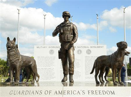 The newly unveiled U.S. Military Working Dog Teams National Monument is seen at Joint Base San Antonio-Lackland