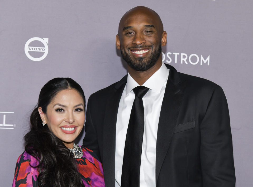 Vanessa Bryant, here with Kobe Bryant in 2019, has honored her late husband and daughter, Gianna, since last year's tragedy.