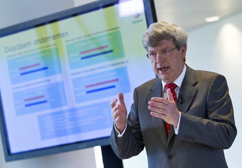 RABO bank CEO Moerland speaks during the presentation of the annual results of 2011 at the bank's headquarters in Utrecht