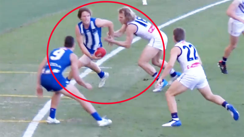 Jared Polec, pictured here in action for North Melbourne against Fremantle.