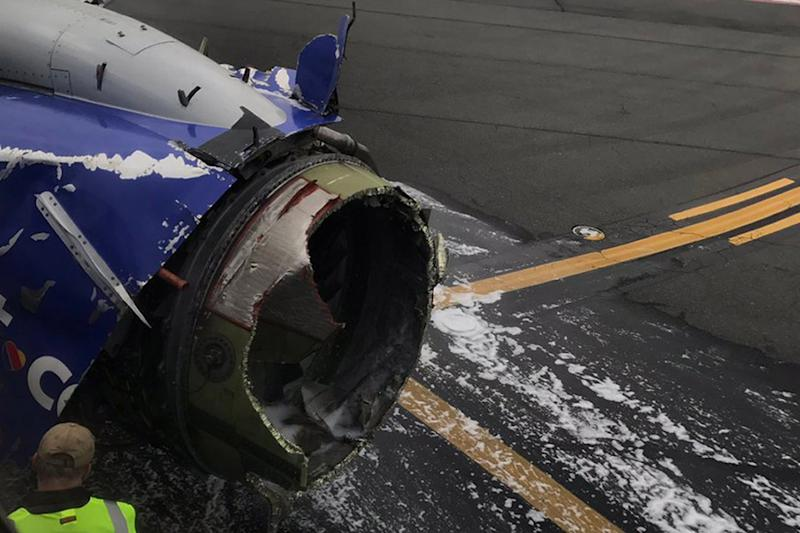 Damage to the Southwest Airlines plane after Jennifer Riordan died when the jet blew an engine at 32,000ft: PA