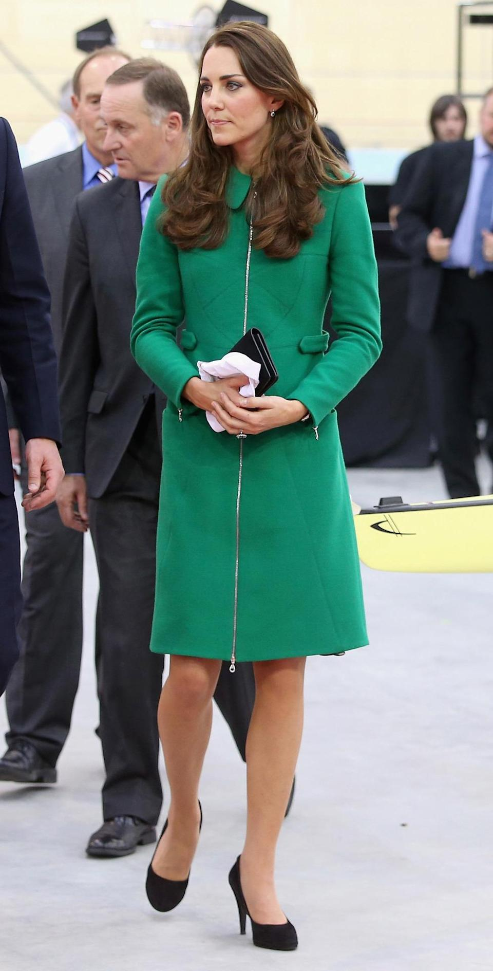<p>Another day in New Zealand saw Kate in a green Erdem coat. She teamed the look with Episode heels and her trusty black Mulberry clutch.</p><p><i>[Photo: PA]</i></p>
