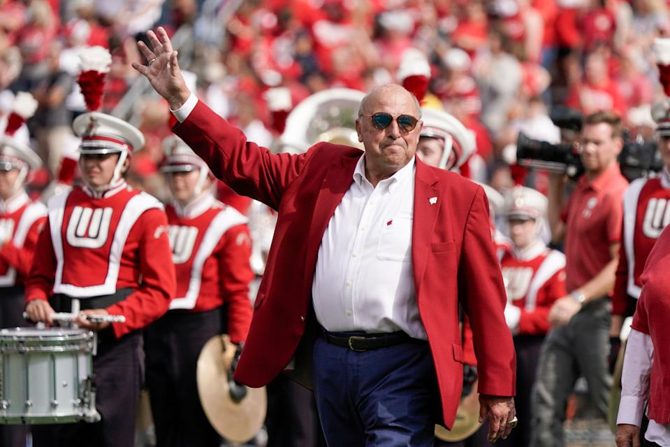 Former Wisconsin athletic director Barry Alvarez speaks as he is recognized at halftime between Wisconsin and Michigan Saturday, Oct. 2, 2021, in Madison, Wis.