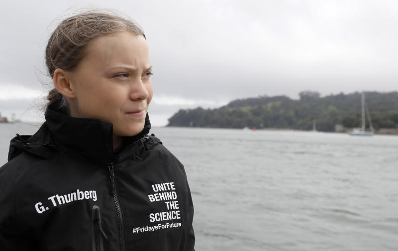 PLYMOUTH, ENGLAND - AUGUST 14: Climate change activist Greta Thunberg prepares to set sail for New York in the 60ft Malizia II yacht from Mayflower Marina, on August 14, 2019 in Plymouth, England. Greta Thunberg is a teenage activist born in Sweden in 2003. She began protesting outside the Belgian Parliament aged 15 and started the School Strike for Climate movement which has gained global popularity seeing school students campaigning against Climate Change on Fridays instead of attending their lessons. Greta has stopped flying as the aviation industry is responsible for 12% of CO2 emissions from all forms of transports. Once in New York she will attend a climate change conference. (Photo by Kirsty Wigglesworth - WPA Pool/Getty Images)