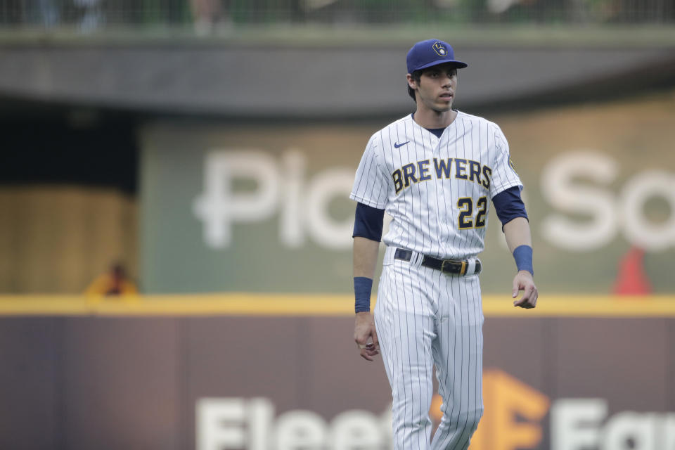 Milwaukee Brewers' Christian Yelich warms up before a baseball game against the Chicago White Sox Friday, July 23, 2021, in Milwaukee. (AP Photo/Aaron Gash)