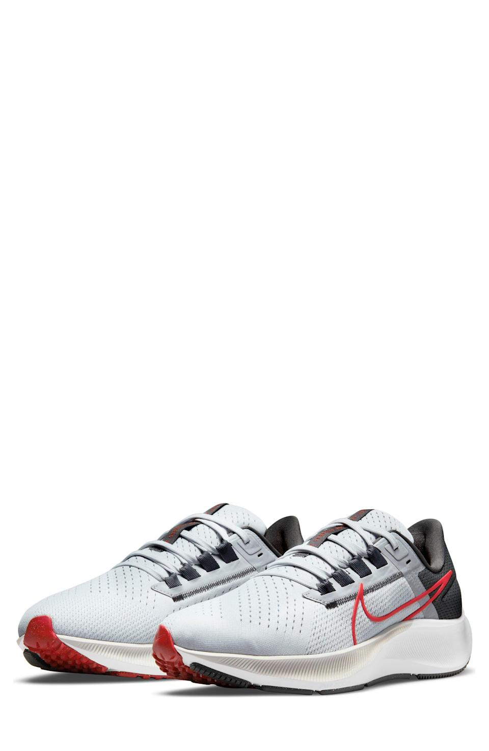 """<p><strong>NIKE</strong></p><p>nordstrom.com</p><p><a href=""""https://go.redirectingat.com?id=74968X1596630&url=https%3A%2F%2Fwww.nordstrom.com%2Fs%2Fnike-air-zoom-pegasus-38-running-shoe-men%2F5741682&sref=https%3A%2F%2Fwww.menshealth.com%2Fstyle%2Fg37081969%2Fnordstroms-anniversary-sale-best-sneakers%2F"""" rel=""""nofollow noopener"""" target=""""_blank"""" data-ylk=""""slk:BUY IT HERE"""" class=""""link rapid-noclick-resp"""">BUY IT HERE</a></p><p><del>$120<br></del><strong>$89.90</strong></p><p>If the mere thought of lacing up a pair of sneakers feels somewhat claustrophobic, feast your eyes on Nike's Air Zoom Pegasus 38 sneakers. This pair is designed with more room in the forefront and toes, making your stride more cozy.</p>"""
