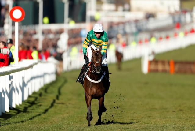 Horse Racing - Cheltenham Festival - Cheltenham Racecourse, Cheltenham, Britain - March 13, 2018 Buveur D'Air ridden by Barry Geraghty before winning the 15:30 Unibet Champion Hurdle Challenge Trophy Action Images via Reuters/Matthew Childs