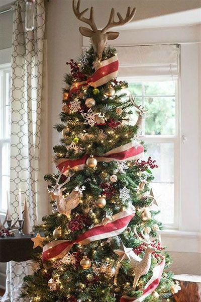 """<p>Celebrate the season of Rudolph by embellishing your tree with wooden reindeer and red berries.</p><p><em><strong>Get the tutorial at </strong><strong><a href=""""https://go.redirectingat.com?id=74968X1596630&url=http%3A%2F%2Fliagriffith.com%2Fdream-tree-challenge-with-michaels-christmas-tree-decorations%2F%3Fcrlt.pid%3Dcamp.jU1SGavePoPi&sref=https%3A%2F%2Fwww.womansday.com%2Fhome%2Fhow-to%2Fg2025%2Fchristmas-tree-decorations%2F"""" rel=""""nofollow noopener"""" target=""""_blank"""" data-ylk=""""slk:Lia Griffith."""" class=""""link rapid-noclick-resp"""">Lia Griffith.</a></strong></em></p><p><a class=""""link rapid-noclick-resp"""" href=""""https://www.amazon.com/Creative-Co-op-Sparkling-Deer-Topper/dp/B07F9Z3FZW/?tag=syn-yahoo-20&ascsubtag=%5Bartid%7C10070.g.2025%5Bsrc%7Cyahoo-us"""" rel=""""nofollow noopener"""" target=""""_blank"""" data-ylk=""""slk:BUY REINDEER TREE TOPPER"""">BUY REINDEER TREE TOPPER</a></p>"""